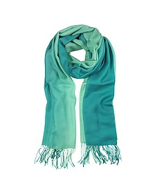 Gradient Green Wool and Cashmere Stole - Mila Schon