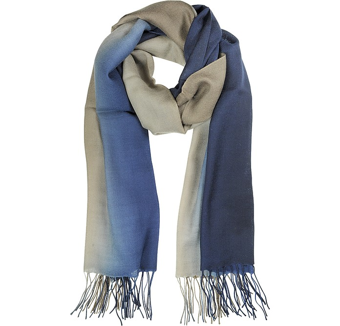 Gradient Blue/Brown Wool and Cashmere Stole - Mila Schon