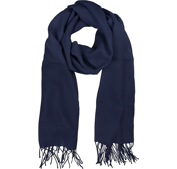 Midnight Blue Wool and Cashmere Stole - Mila Schon