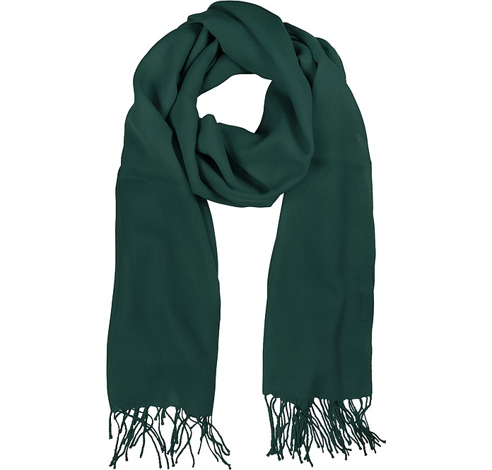Petrol Green Wool and Cashmere Stole - Mila Schon