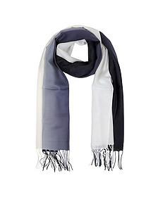 Gradient White/Dark Blue Wool and Cashmere Fringed Stole - Mila Schon