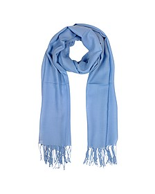 Light Blue Wool and Cashmere Fringed Stole - Mila Schon