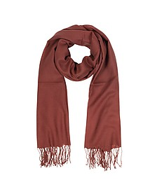 Brick Red Wool and Cashmere Fringed Stole - Mila Schön