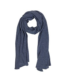 Solid Dark Blue Wool Blend Stole - Mila Schon