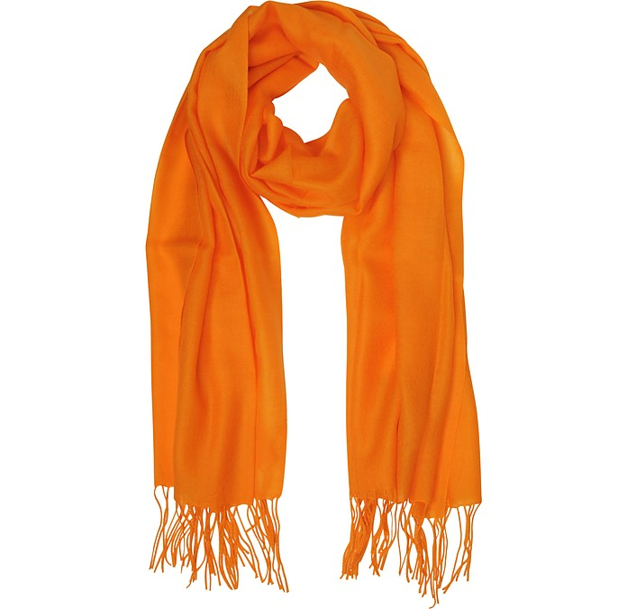 Orange Wool and Cashmere Fringed Stole - Mila Schön