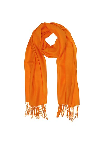 Orange Wool and Cashmere Fringed Stole - Mila Schon