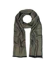 Khaki Stripe Wooden Fiber Fringed Long Scarf - Mila Schon