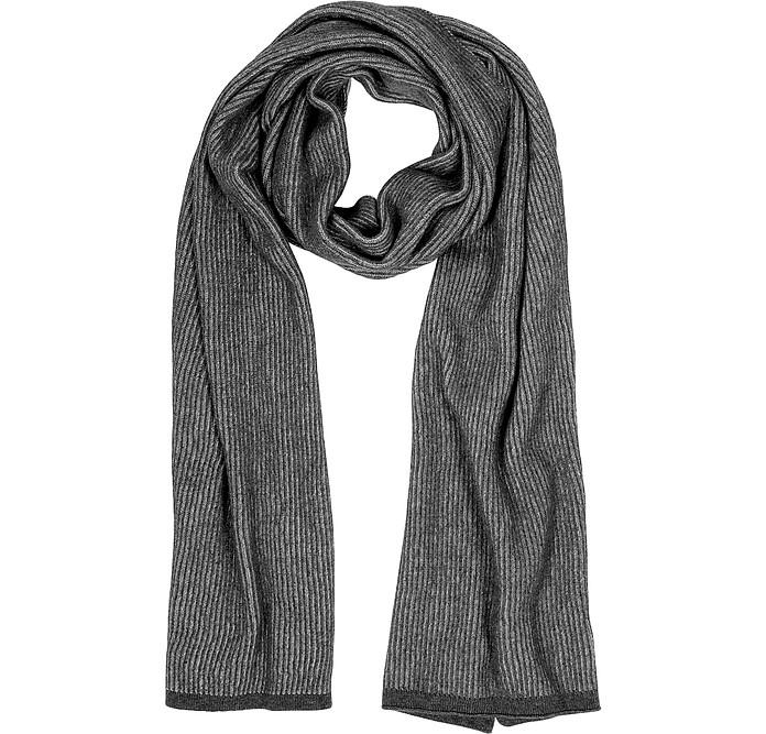 Gray/Black Stripe Wool Blend Long Scarf - Mila Schon
