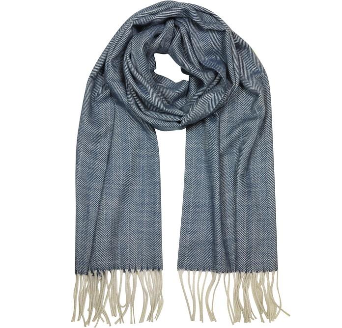 Herringbone Cashmere, wool and Silk Fringed Long Scarf - Mila Schon