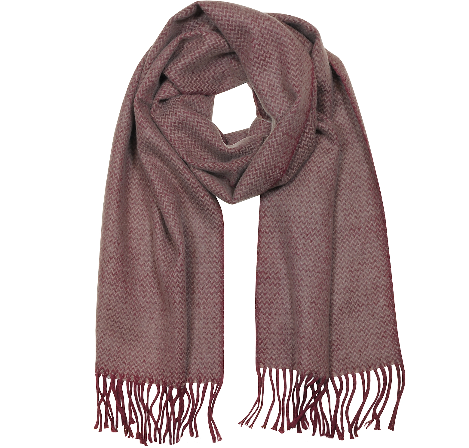 Pure Cashmere Long Scarf w/Fringe