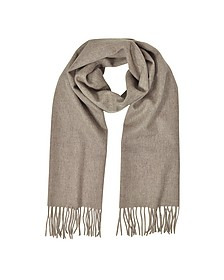 Cashmere and Wool Brown Fringed Long Scarf - Mila Schon