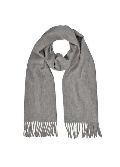 Cashmere and Wool Taupe Fringed Long Scarf - Mila Schon