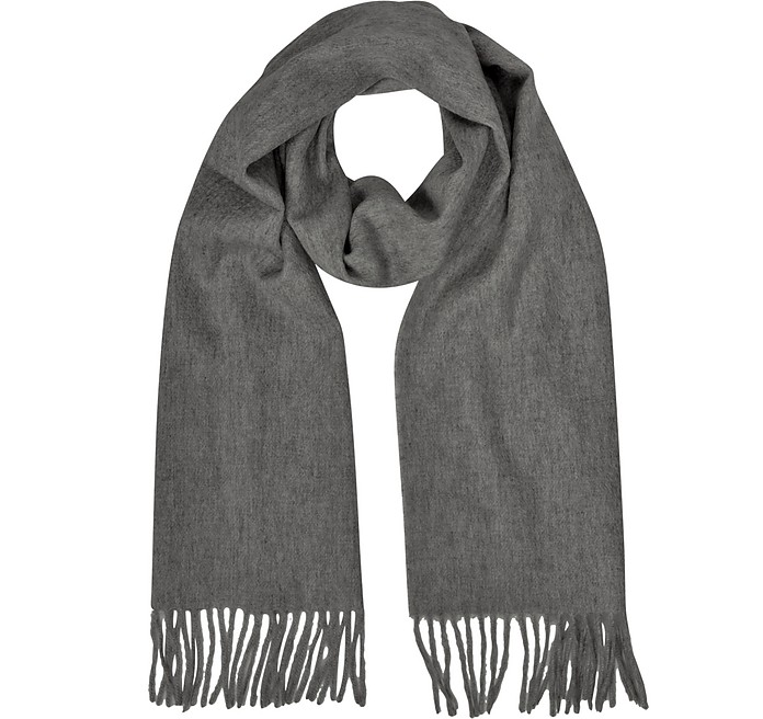 Cashmere and Wool Dark Gray Fringed Long Scarf - Mila Schon