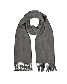 Cashmere and Wool Dark Gray Fringed Long ScarfItalian design. - Mila Schon
