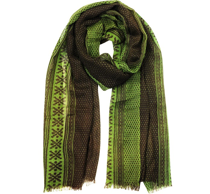 Green and Brown Fine Pure Wool Men's Scarf - Mila Schon