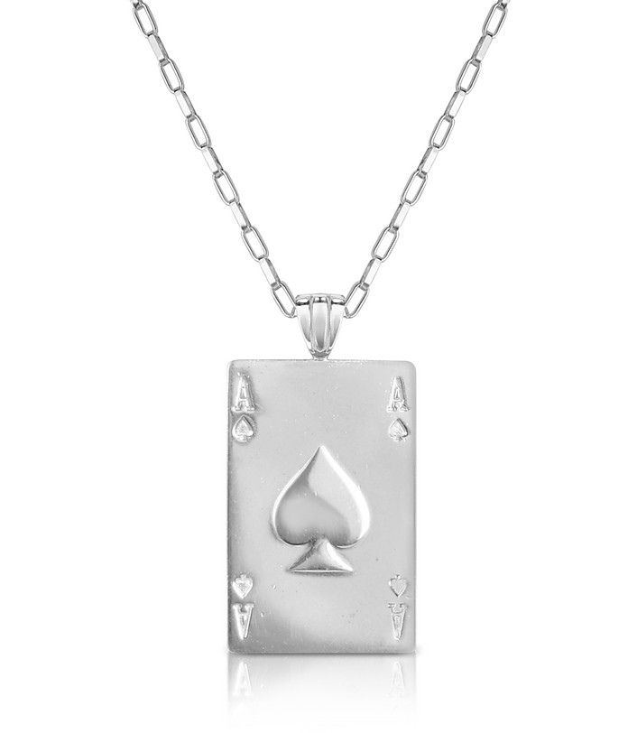 Sterling Silver Ace of Spades Necklace - Sho London