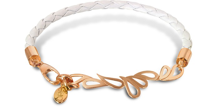Mari Friendship Leather and Rose Gold Bangle - Sho London