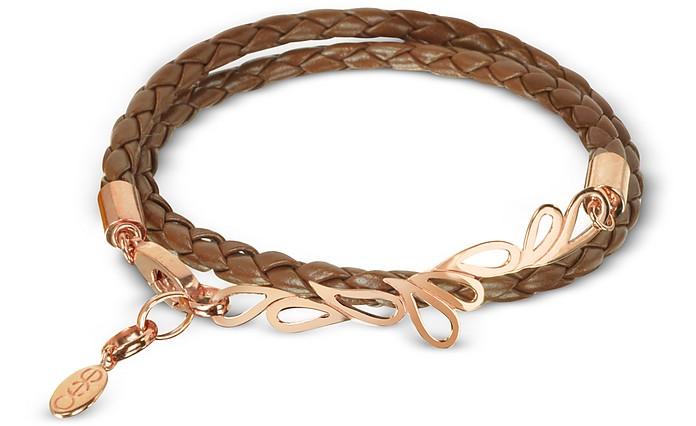 Mari Fiendship Rose Gold Plated & Leather Double Bracelet - Sho London