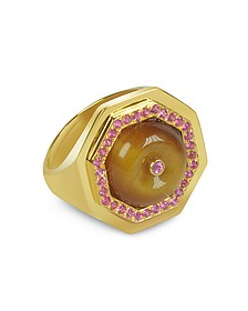 Tiger's Eye Clementina Ring - Sho London
