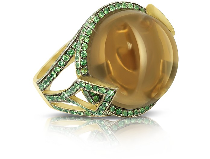 18k Gold - Fedora Ring mit Quarz - Sho London