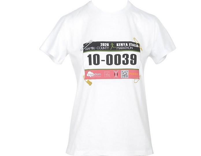 Women's White T-Shirt - Stella Jean/Pinko X Treedom