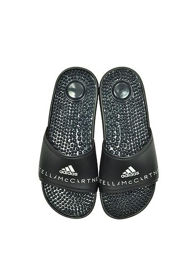 Adissage Black Slide Pool Sandals - Adidas Stella McCartney
