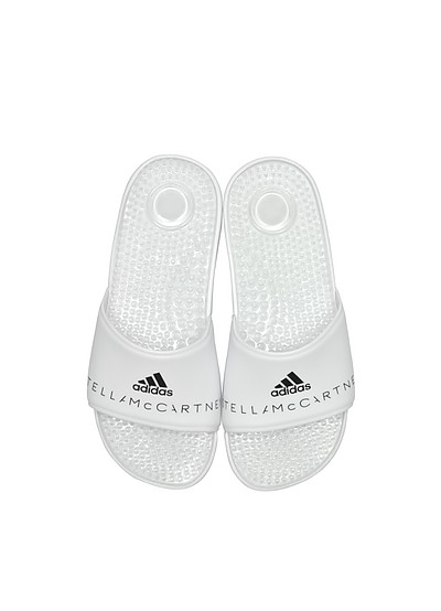 Adissage White Slide Pool Sandals - Adidas Stella McCartney