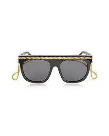 SC0043S Acetate Shield Women's Sunglasses w/Goldtone Chain - Stella McCartney