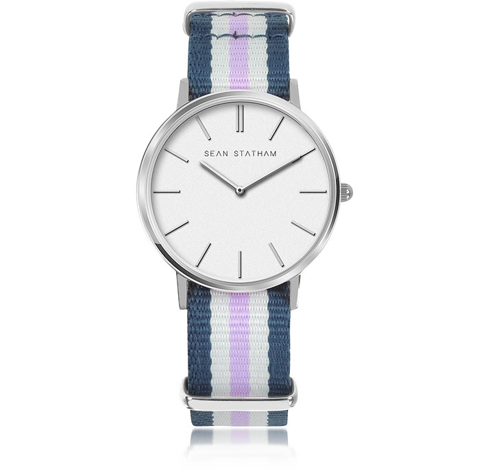 Stainless Steel Unisex Quartz Watch w/Blue and Violet Striped Canvas Band - Sean Statham