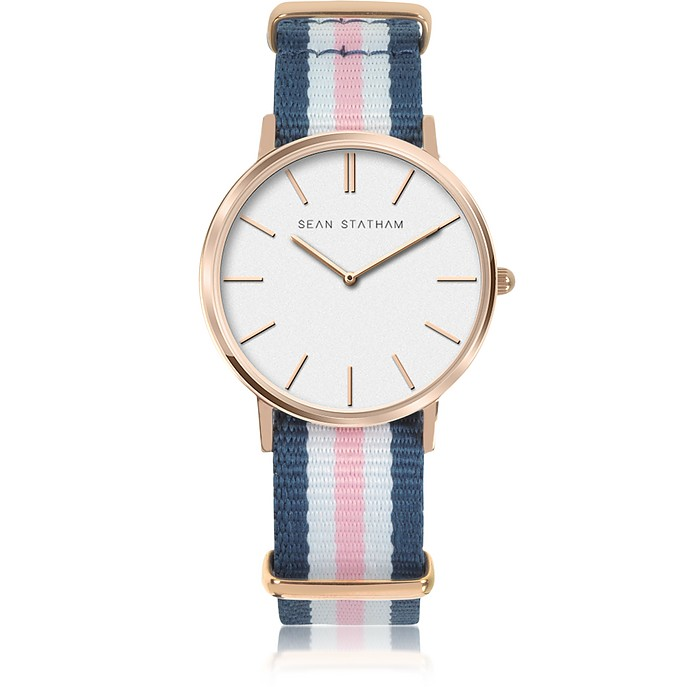 Rose Goldtone Stainless Steel Unisex Quartz Watch w/Blue and Pink Striped Canvas Band - Sean Statham