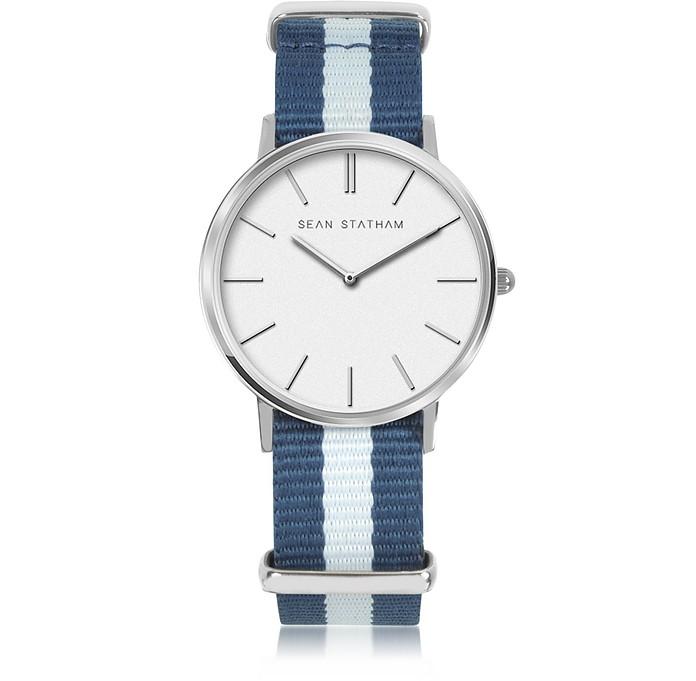 Stainless Steel Unisex Quartz Watch w/Blue Striped Canvas Band - Sean Statham