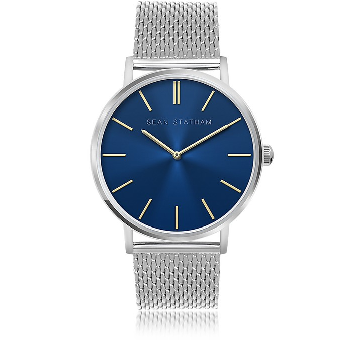 Stainless Steel Unisex Quartz Watch w/Blue Dial - Sean Statham