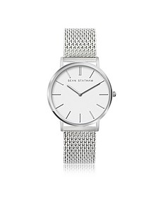 Stainless Steel Unisex Quartz Watch w/White Dial - Sean Statham