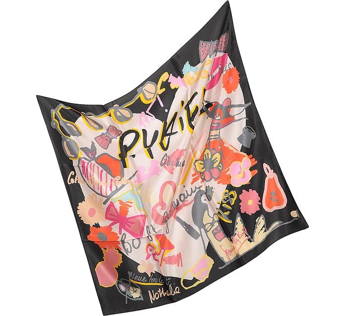 Heart - Multicolor Print Silk Square Scarf - Sonia Rykiel