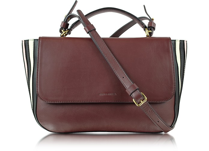 Lucien Mahogany Large Leather Flap Bag - Sonia Rykiel