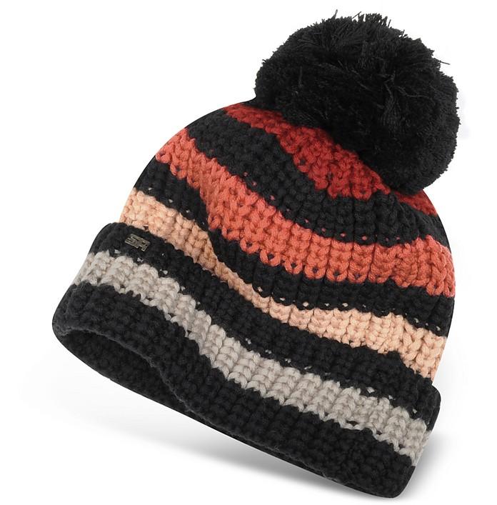 Multicolor Striped Wool Pom Pon Hat - Sonia Rykiel
