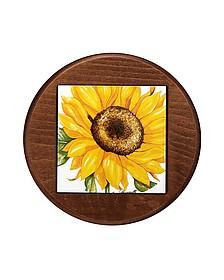 Sunflower Ceramic and Wood Trivet - Spigarelli