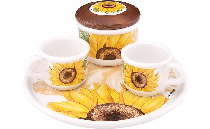 Sugar and Mocha Cups Sunflower Ceramic Set w/Tray - Spigarelli