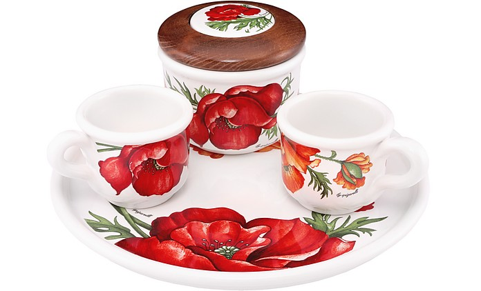 Keramikset mit Kaffetassen, Tablett & Zuckerdose mit Mohnblume - Spigarelli