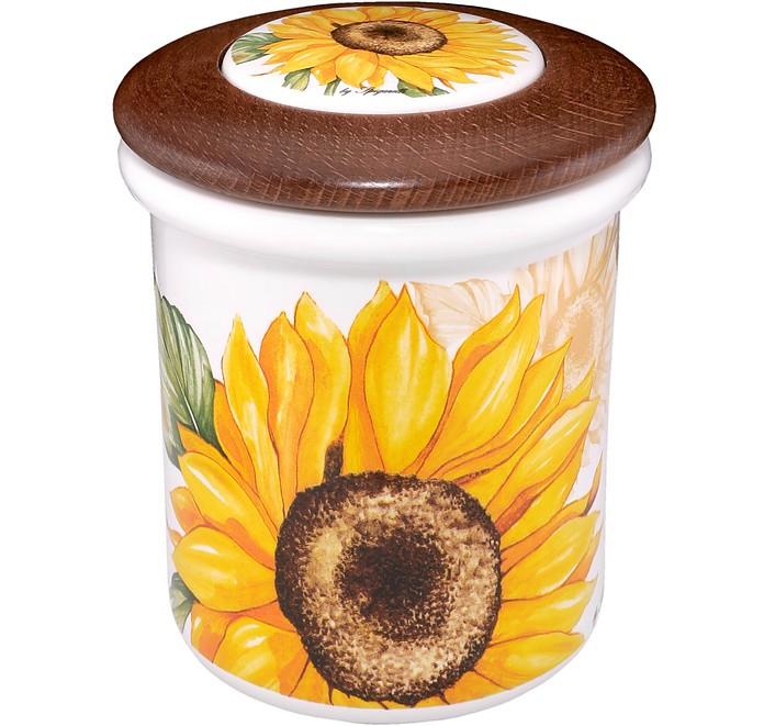 Sunflower Ceramic and Wood Jar  - Spigarelli