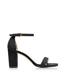 Nearlynude Black Suede Heel Sandals - Stuart Weitzman