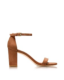 Nearlynude Saddle Brown Suede Heel Sandals - Stuart Weitzman