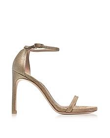 Nudistsong Gold Crystaline High Heel Sandals - Stuart Weitzman