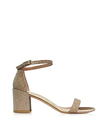 Simple Gold Glitter Mid Heel Sandals - Stuart Weitzman