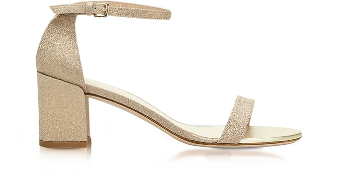 Simple Gold Glitter Mid Heel Sandals