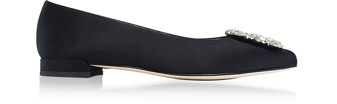 Fetching Black Satin Pointed Toe Flat Ballerinas w/Crystals - Stuart Weitzman