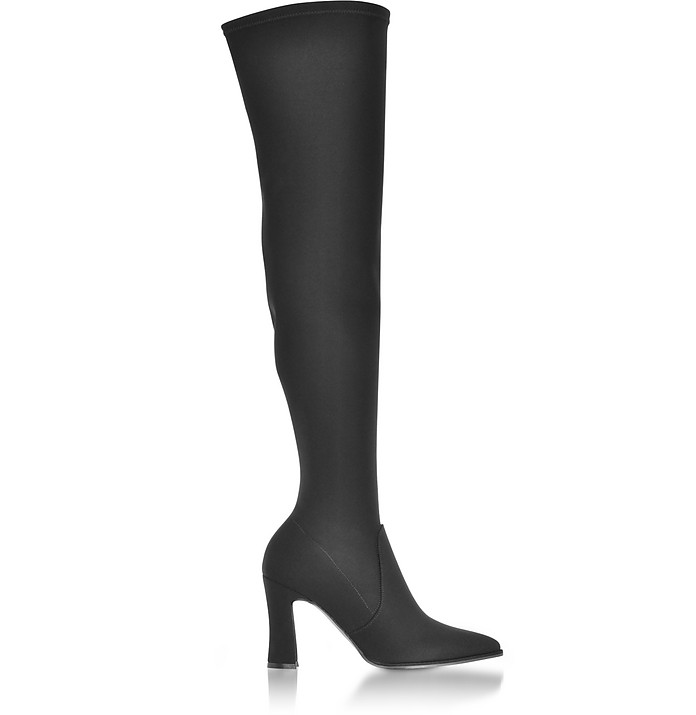 Hirise Black Micro Stretch Fabric High Heel Over The Knee Boots - Stuart Weitzman
