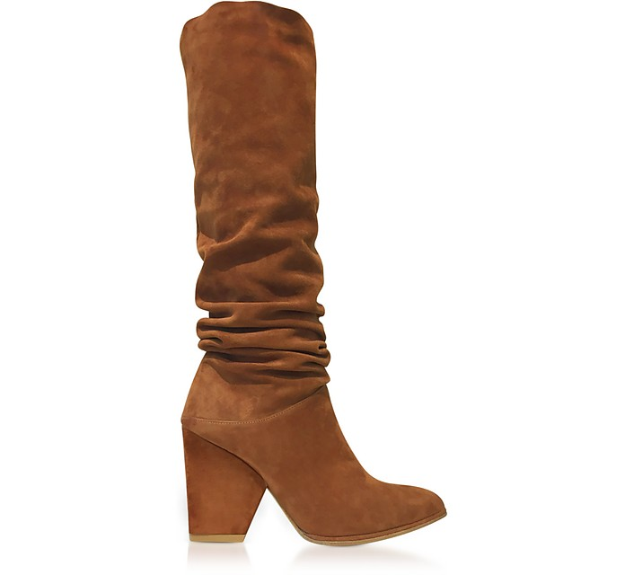 Smashing Amaretto Brown Suede High Heel Boots - Stuart Weitzman