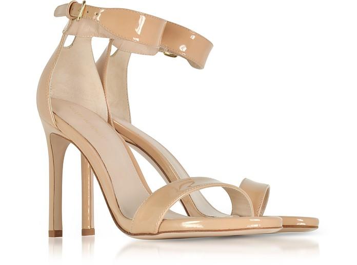 76975939385 Stuart Weitzman Backup Tiz Adobe Aniline Nude Patent Leather Sandals