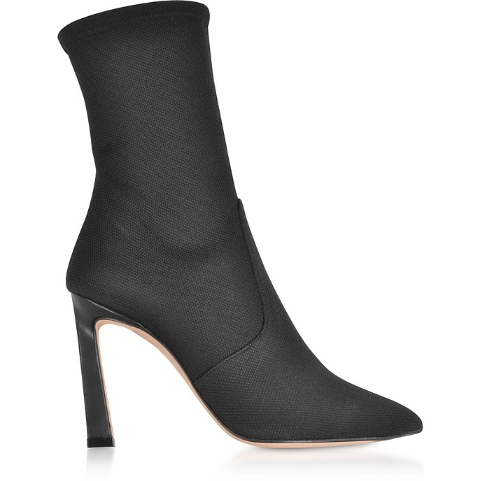 Rapture 100 Black Canvas High Heel Boots - Stuart Weitzman